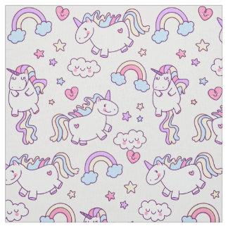 Kawaii chubby flying unicorns rainbow pattern fabric