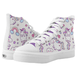 Kawaii chubby flying unicorns rainbow pattern high tops