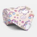 Kawaii chubby flying unicorns rainbow pattern tie