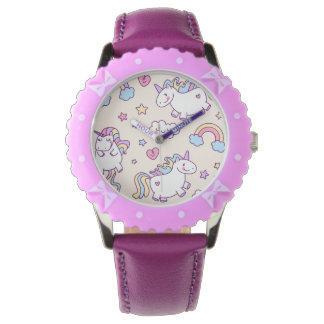 Kawaii chubby flying unicorns rainbow pattern watch