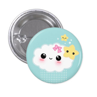 Kawaii cloud and cute stars 3 cm round badge