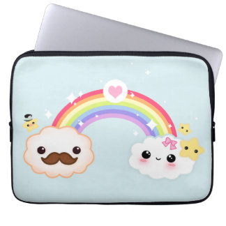 Kawaii cloud couple with rainbow and stars laptop sleeve
