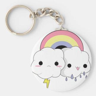 kawaii clouds basic round button key ring
