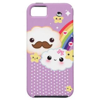 Kawaii clouds with rainbow and stars on purple iPhone 5 case