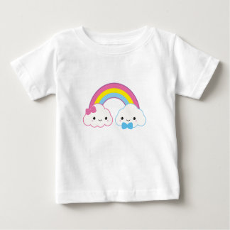 Kawaii Couple Clouds with Rainbow Baby T-Shirt