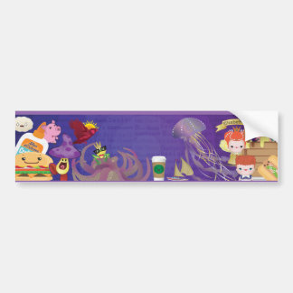 Kawaii Creatures and Characters Banner Bumper Sticker