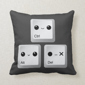 Kawaii Ctrl Alt Del Keyboard - Reboot Throw Cushion