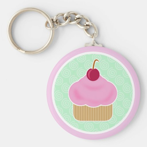 Kawaii Cupcake Cherry Keychain