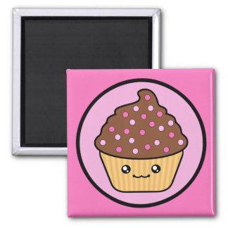Kawaii Cupcake Chocolate Frosting Square Magnet