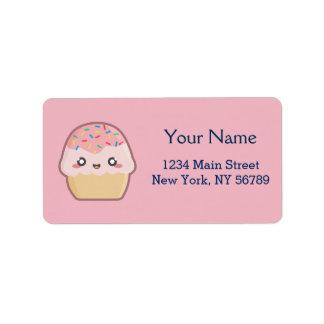 Kawaii cupcake address label