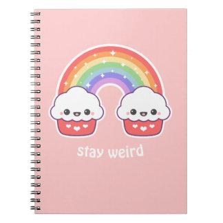 Kawaii Cupcake Rainbow Spiral Note Book