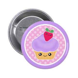 Kawaii Cupcake Strawberry Button