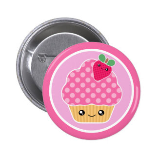 Kawaii Cupcake Strawberry Pinback Button