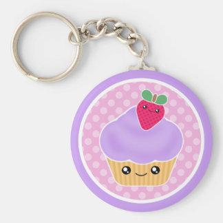 Kawaii Cupcake Strawberry Keychain