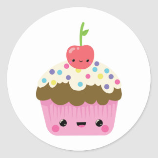 Kawaii Cupcake with Cherry on Top Round Sticker