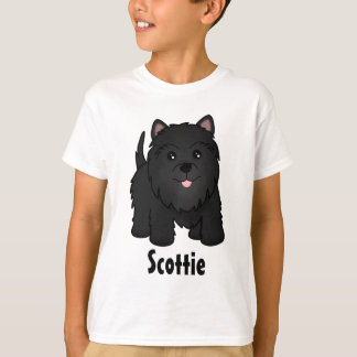 Kawaii Cute Black Scottish Terrier Puppy Dog T-Shirt