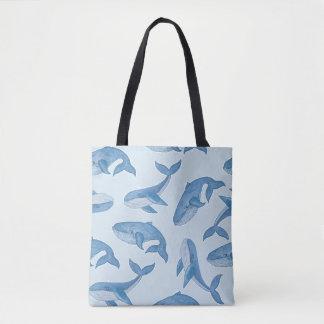 Kawaii Cute Blue Whales Tote Bag