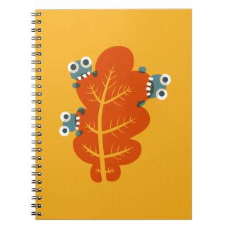 Kawaii Cute Cartoon Bugs Eat Autumn Leaf Kids Note Book