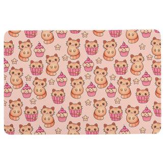Kawaii Cute Cats and Cupcakes Pink Pattern Floor Mat