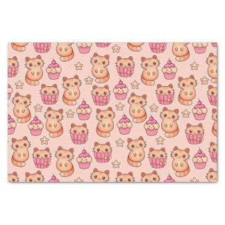 Kawaii Cute Cats and Cupcakes Pink Pattern Tissue Paper