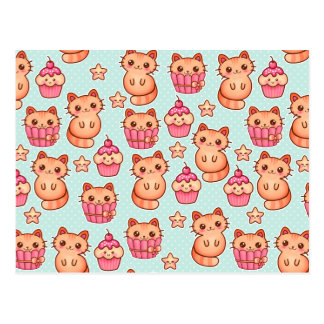 Kawaii Cute Cats Cupcakes Pink and Blue Pattern Postcard