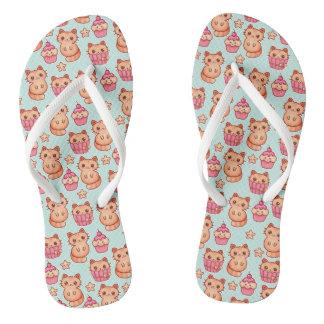 Kawaii Cute Cats Cupcakes Pink and Blue Pattern Thongs
