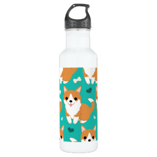 Kawaii Cute Corgi dog simple illustration pattern 710 Ml Water Bottle
