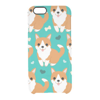 Kawaii Cute Corgi dog simple illustration pattern Clear iPhone 6/6S Case