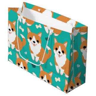Kawaii Cute Corgi dog simple illustration pattern Large Gift Bag