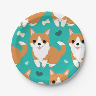 Kawaii Cute Corgi dog simple illustration pattern Paper Plate