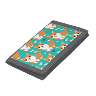 Kawaii Cute Corgi dog simple illustration pattern Trifold Wallet