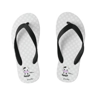 Kawaii cute cow cartoon kids flip flops with name thongs