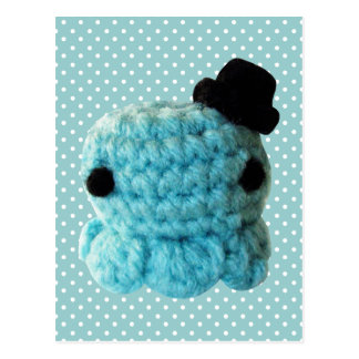 Kawaii Cute Crochet Amigurumi Octopus Top Hat Blue Postcard