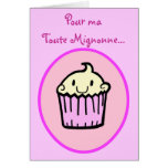 Kawaii Cute Cupcake French Birthday Card