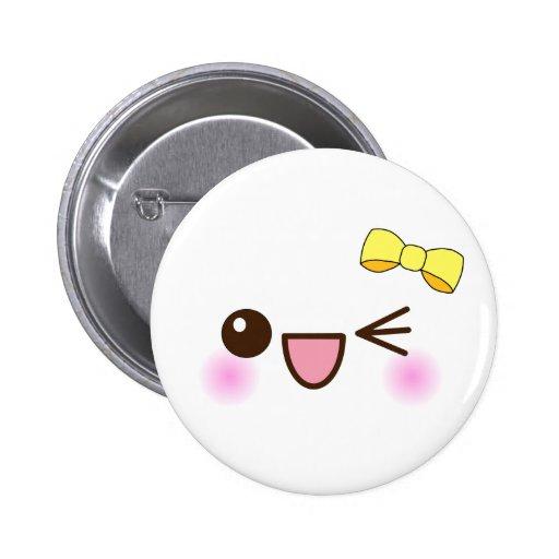 kawaii cute face 6 cm round badge