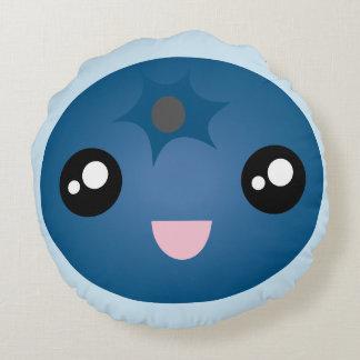 Kawaii Cute Happy Smiley Face Blue Berry Emoji Round Cushion