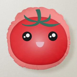 Kawaii Cute Happy Smiley Face Tomato Emoji Cartoon Round Cushion