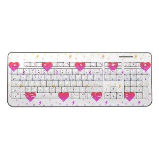 Kawaii!  Cute Heart Pink and Orange Keyboard