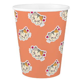 Kawaii Cute Heart Struck Little Kitty Kitten Cat. Paper Cup