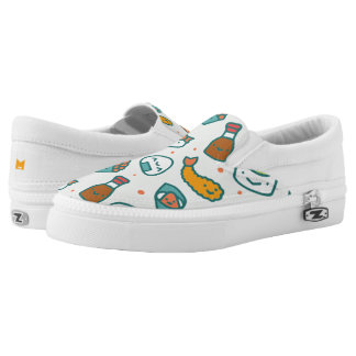 Kawaii Cute Japanese Sushi Pattern. Monogram. Slip On Shoes