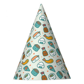 Kawaii Cute Japanese Sushi Tempura Onigiri Pattern Party Hat