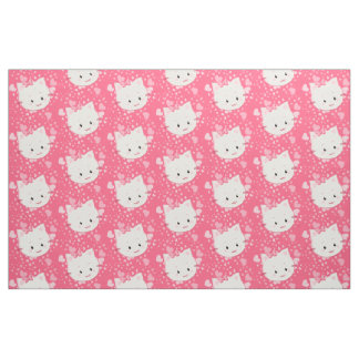 Kawaii Cute Kitty Cat Face in Pink Fabric