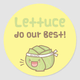 Kawaii Cute Lettuce Do Our Best Food Pun Humor Classic Round Sticker