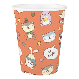 Kawaii Cute Little Forest Animals. Paper Cup