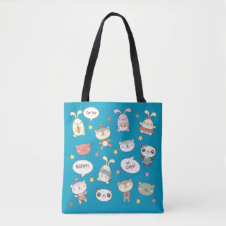 Kawaii Cute Little Forest Animals. Tote Bag