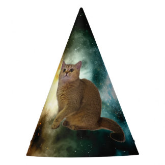 Kawaii Cute Little Kitty Kitten Cats. In Space. Party Hat