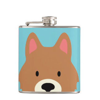 Kawaii Cute Little Puppy Dog. Hip Flask