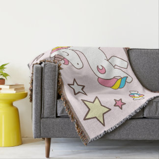 Kawaii Cute Magical Unicorn. Throw Blanket