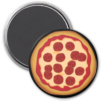 Kawaii Cute Pepperoni Pizza for the Nerd Geeks 7.5 Cm Round Magnet