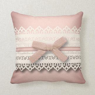 kawaii cute princess pink bow lace girly throw pillow